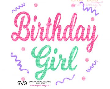 Birthday Girl Confetti SVG Design - Curtsy Embroidery