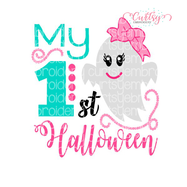 First Halloween Girls Svg Curtsy Embroidery